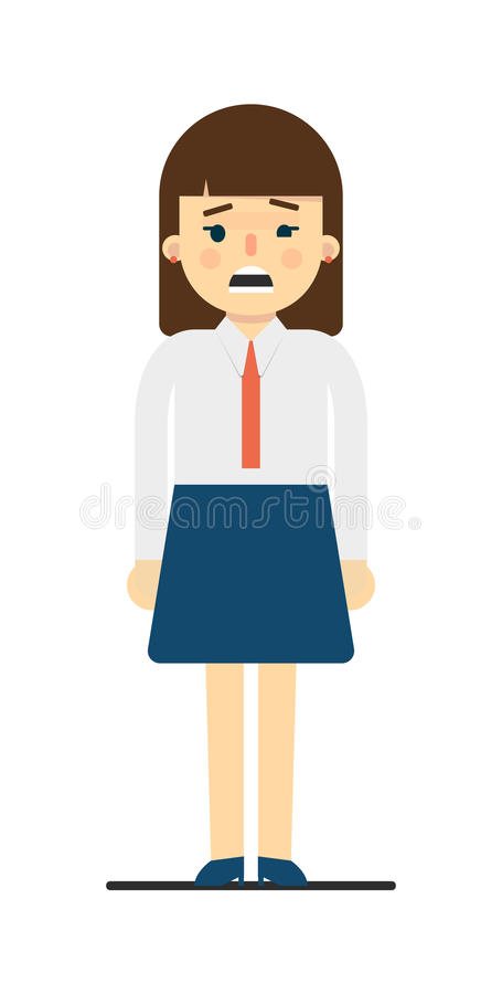 Frustrated young woman in uniform character royalty free illustration