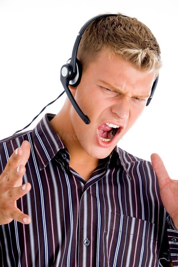 frustrerad anställd för felanmälansmitt arkivbild