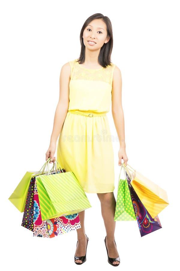 Frustrerad shoppingflicka fotografering för bildbyråer