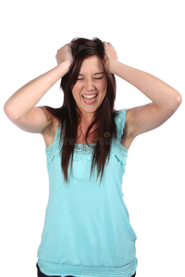 frustrerad skrikig kvinna royaltyfria bilder