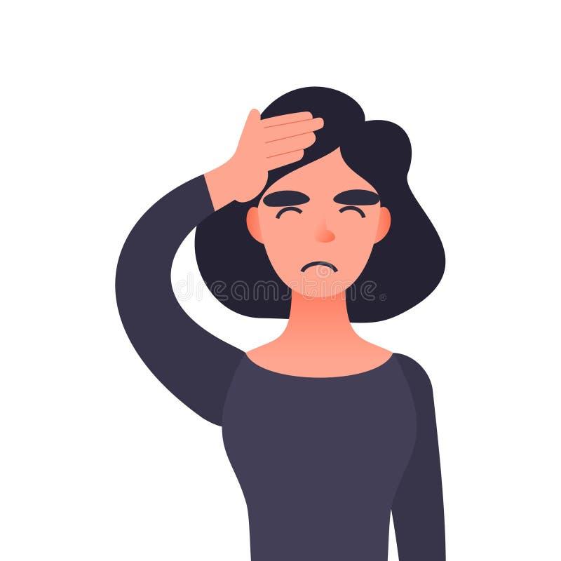 Frustrierte Frau mit Kopfschmerzen lizenzfreie abbildung
