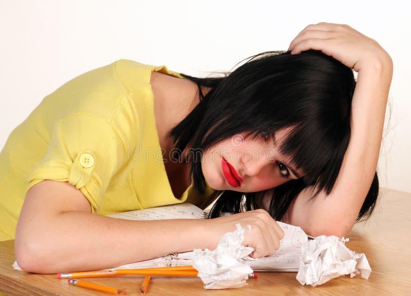 Frustrierter weiblicher Kursteilnehmer stockbilder