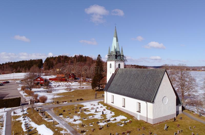 Frustuna church aerial view. Gnesta, Sweden - March 17, 2018: Aerial view of the Frustuna church royalty free stock photography
