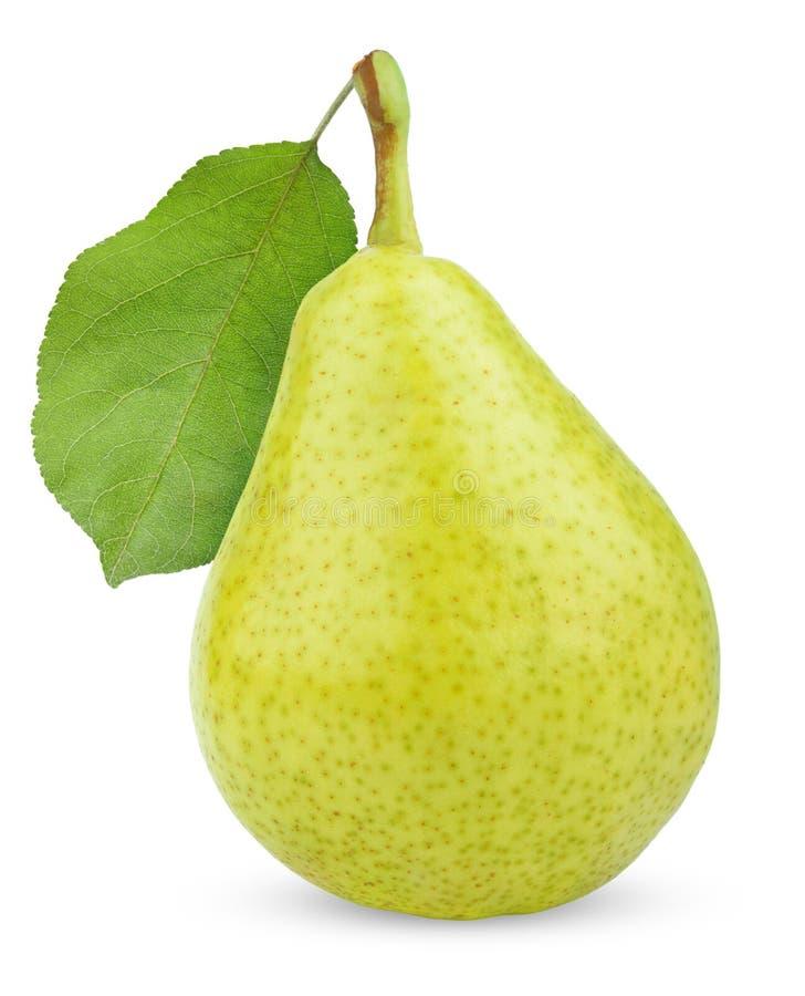Fruta amarilla verde madura de la pera con la hoja imagen de archivo