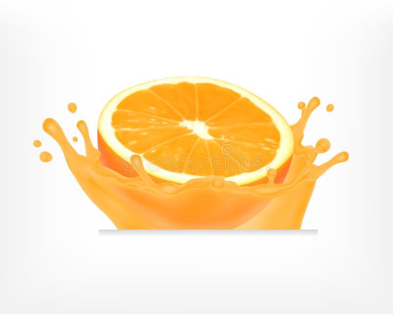 Fruta anaranjada con el chapoteo del jugo ilustración del vector