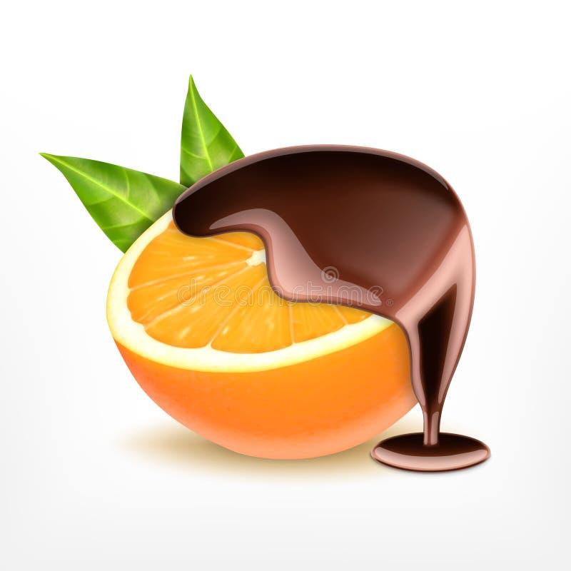 Fruta anaranjada con el chocolate stock de ilustración