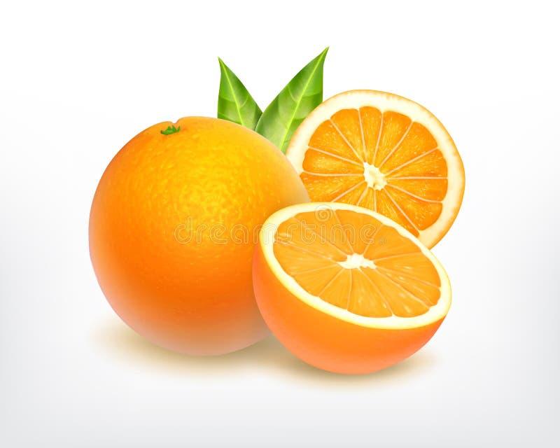 Fruta anaranjada con la rebanada ilustración del vector