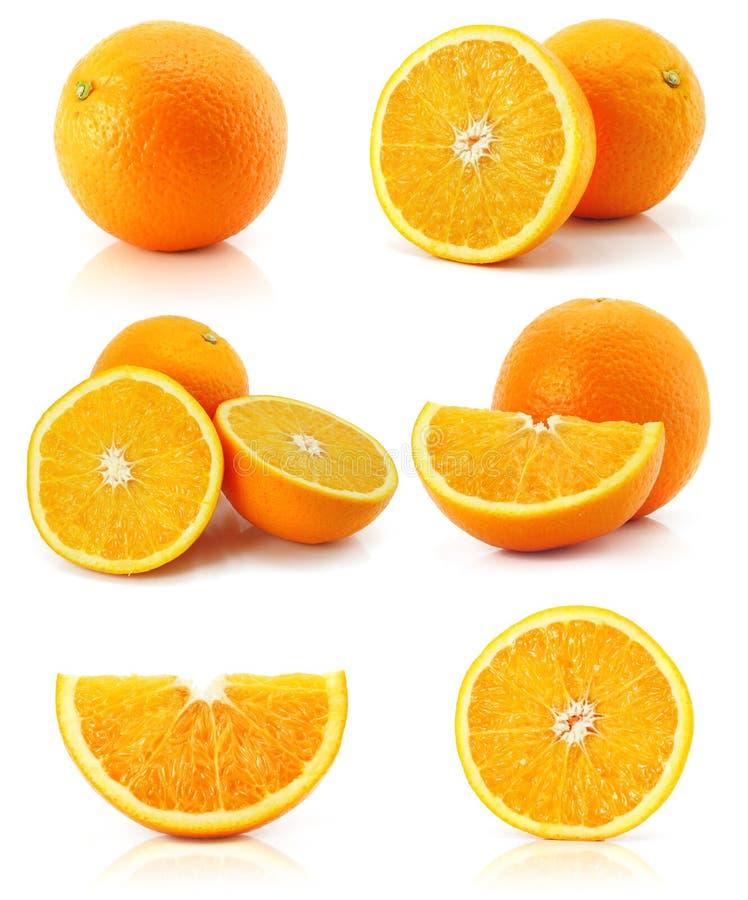 Fruta anaranjada de la fruta cítrica de la colección aislada en blanco imágenes de archivo libres de regalías