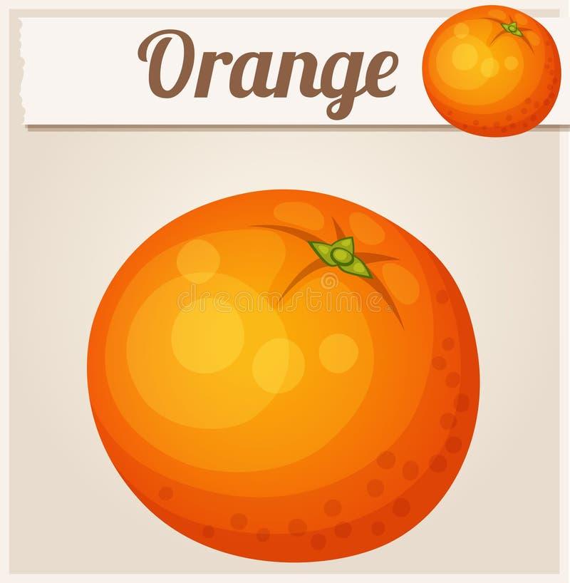 Fruta anaranjada Icono del vector de la historieta stock de ilustración