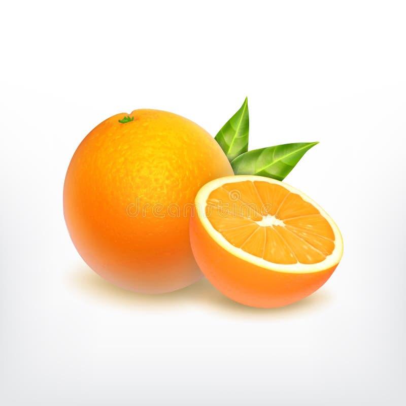 Fruta anaranjada y rebanada anaranjada ilustración del vector