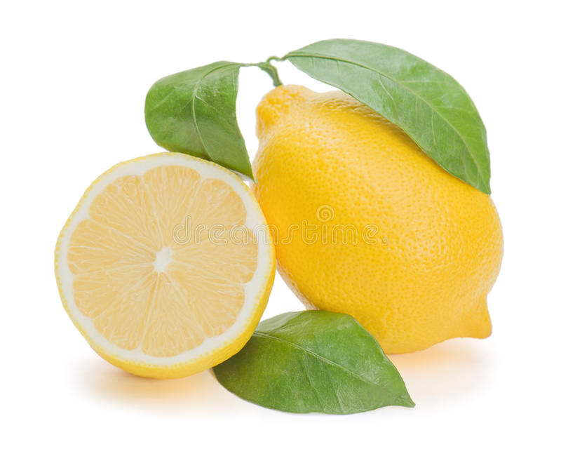 Fruta cítrica fresca del limón con el corte imagenes de archivo