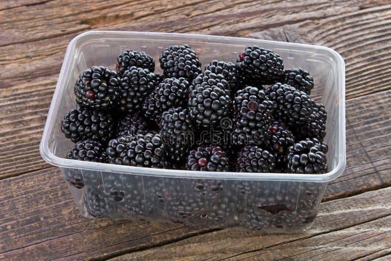 Fruta de Blackberry en cuenco plástico en fondo de madera fotos de archivo libres de regalías