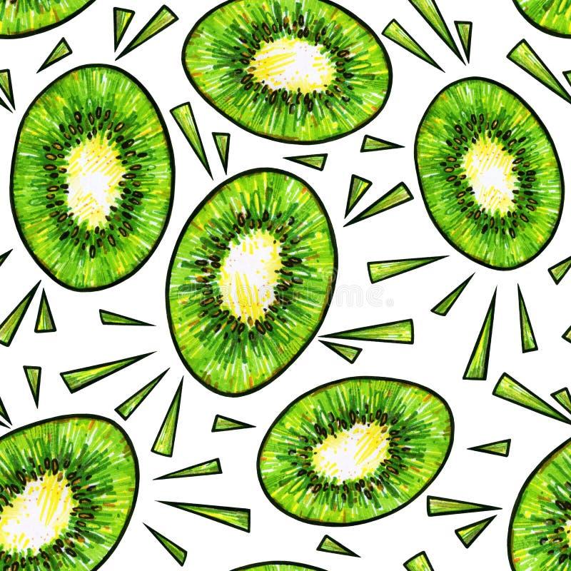 Fruta de kiwi verde en el fondo blanco Dibujo del garabato del kiwi Modelo inconsútil stock de ilustración