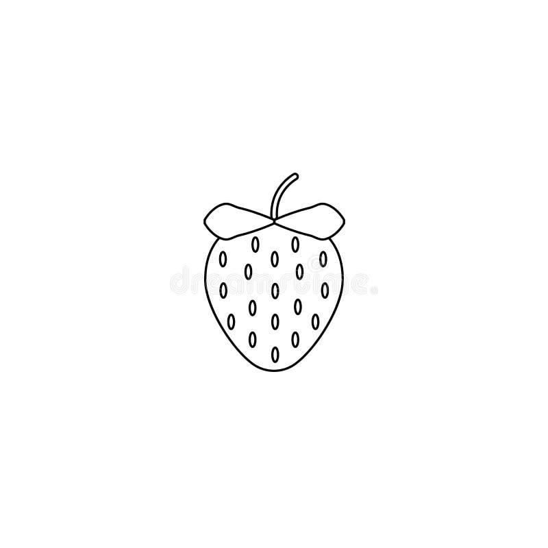 Fruta de la fresa de jardín o línea icono de las fresas del vector del arte para los apps y las páginas web de la comida stock de ilustración