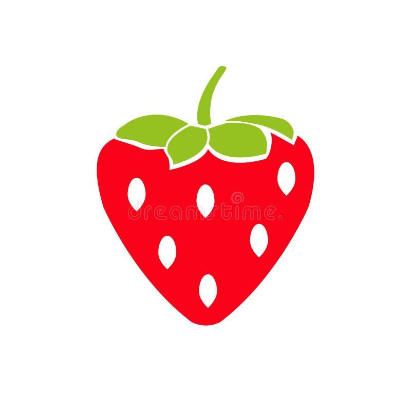 Fruta de la fresa de jard?n o icono plano del vector del color de las fresas para los apps y las p?ginas web de la comida ilustración del vector