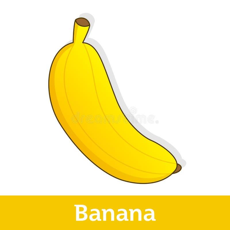 Fruta de la historieta - plátano amarillo grande ilustración del vector