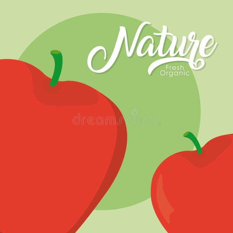 Fruta de la naturaleza de las manzanas ilustración del vector