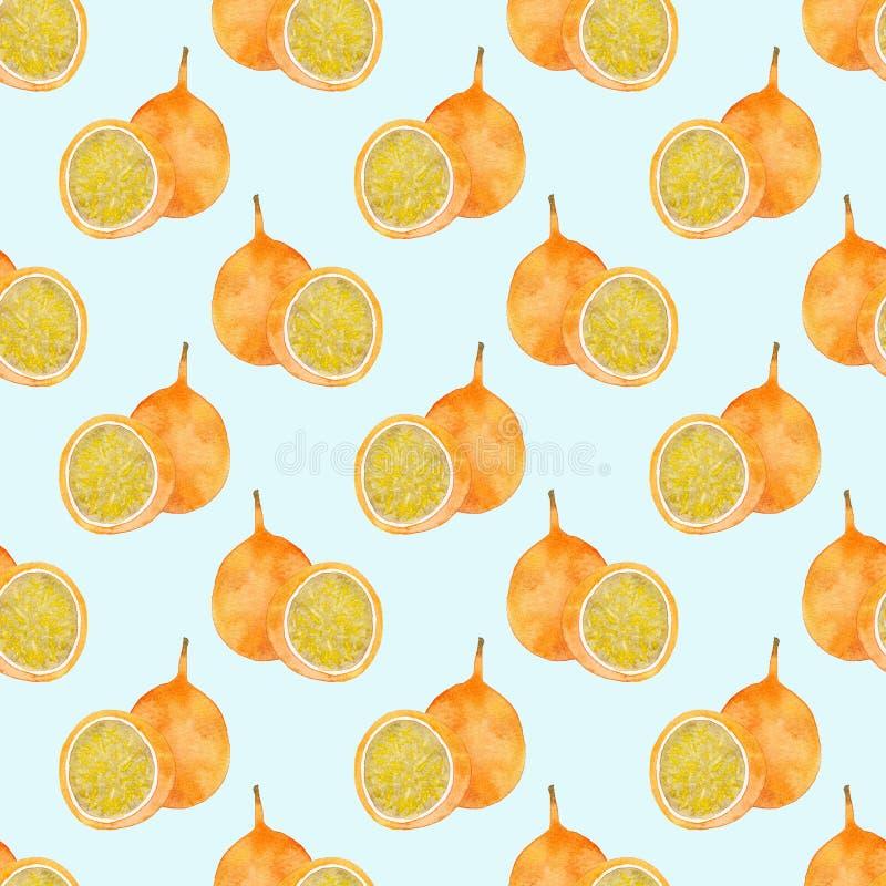 Fruta de la pasión o maracuya Modelo inconsútil con las frutas - granadilla Dibujo real de la acuarela ilustración del vector