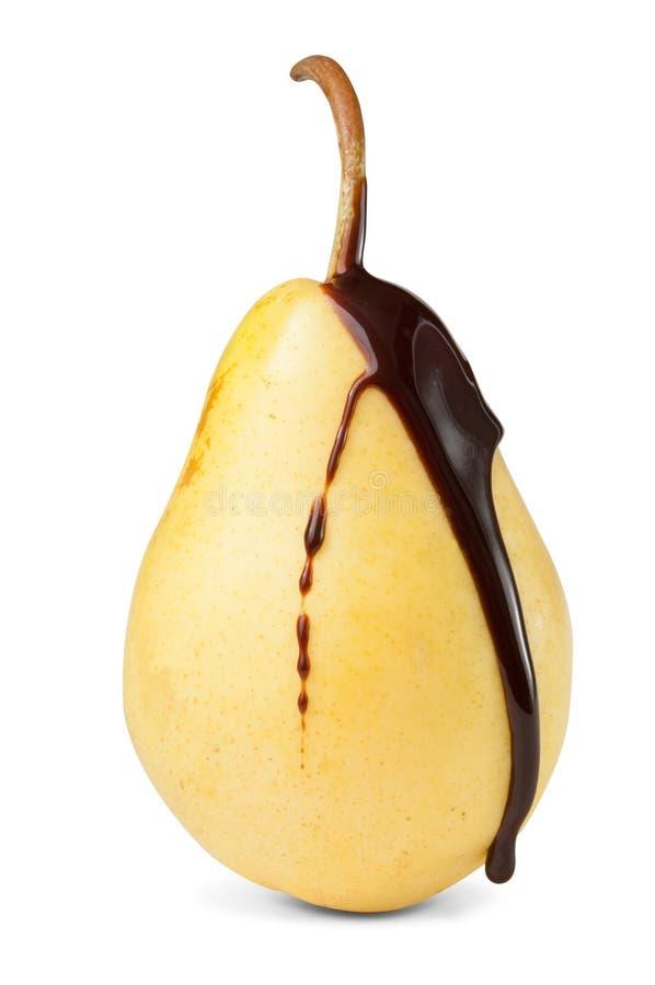 Fruta de la pera del chocolate imagenes de archivo