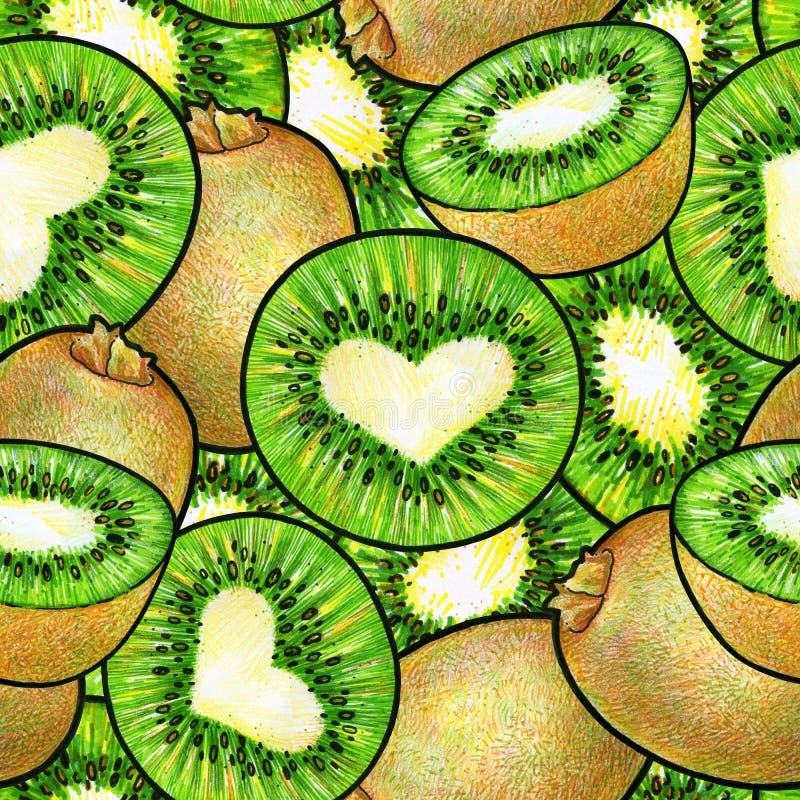 Fruta de quivi verde Desenho da animação da garatuja do quivi Teste padrão sem emenda para o projeto ilustração do vetor