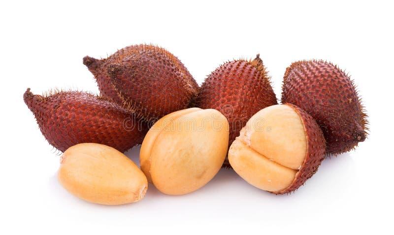 Fruta de Salak, zalacca de Salacca aislada en el fondo blanco imagen de archivo libre de regalías