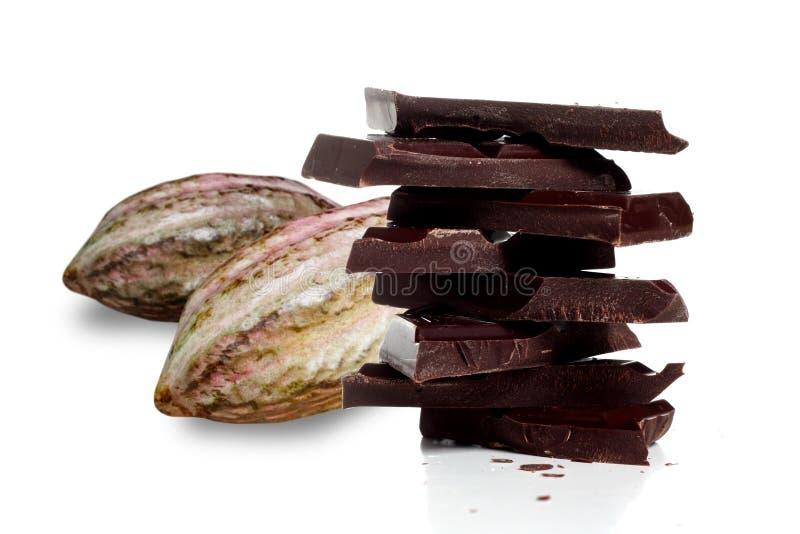 Fruta del cacao y chocolate oscuro imágenes de archivo libres de regalías