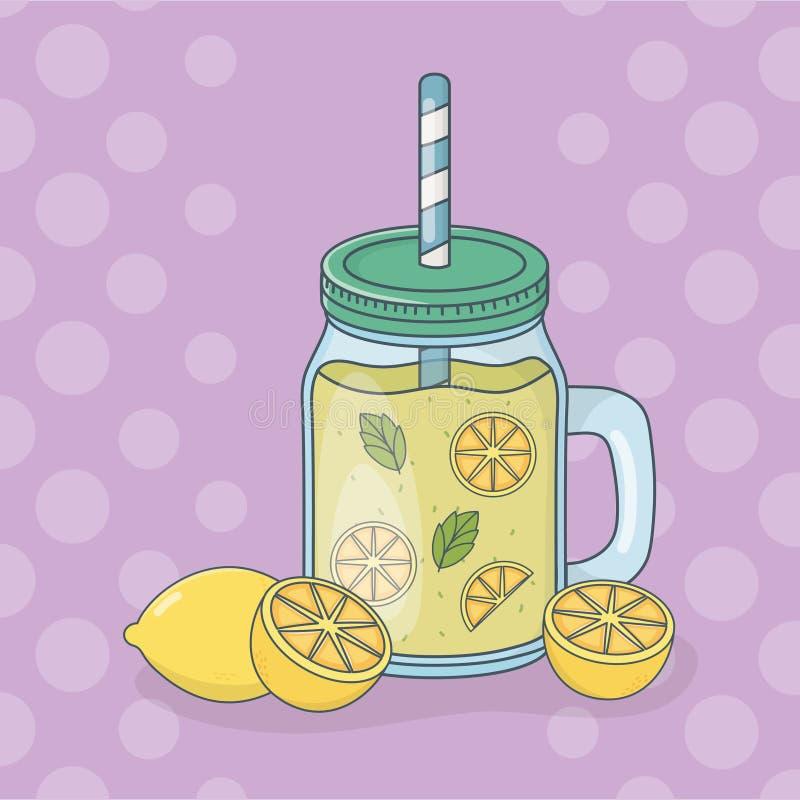 Fruta del jugo de limón en pote con la paja libre illustration