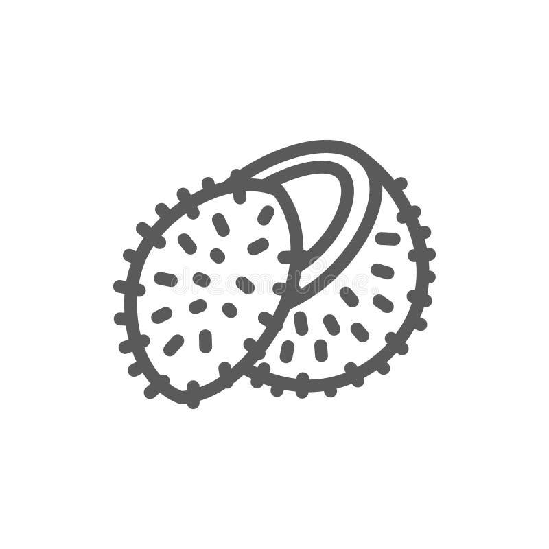 Fruta del lichi, línea icono del coco libre illustration