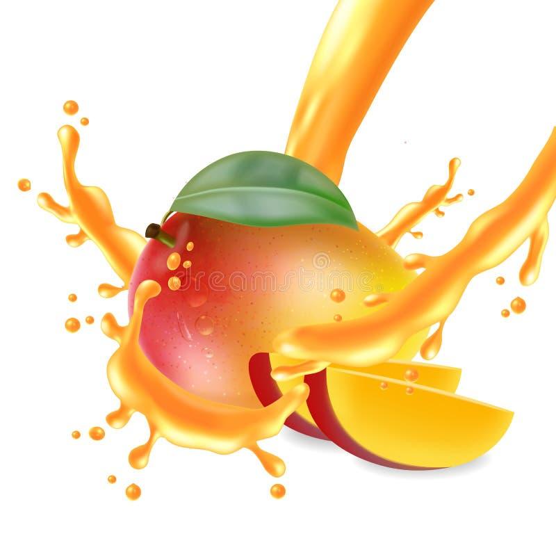 Fruta del mango cortada con el vector del chapoteo del jugo realista Los elementos detallados diseñan ejemplos 3D libre illustration