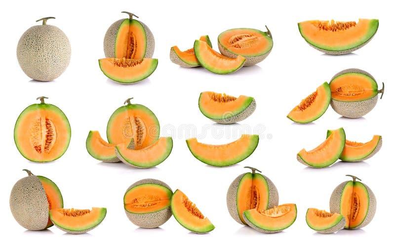 Fruta del melón del cantalupo de la colección aislada en el backgrou blanco imágenes de archivo libres de regalías