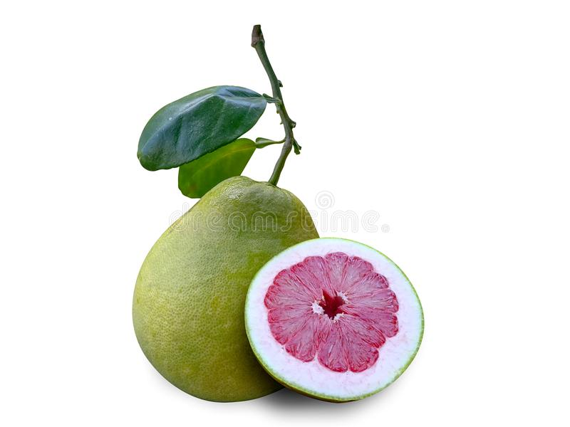 Fruta del pomelo aislada en blanco fotografía de archivo