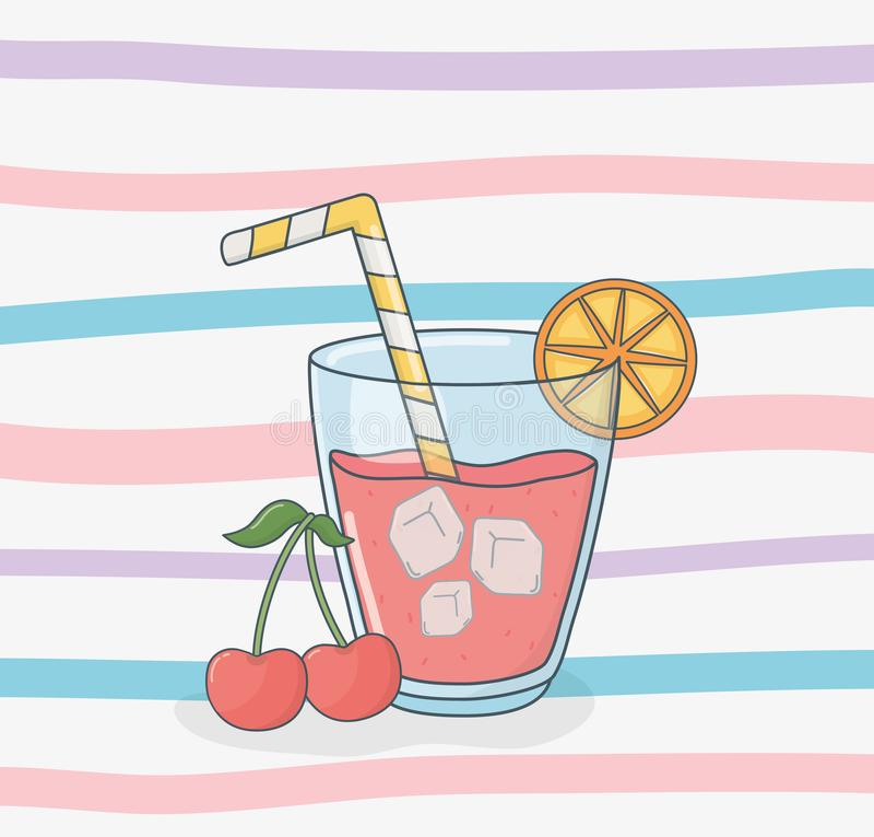 Fruta del zumo de naranja en pote con la paja libre illustration