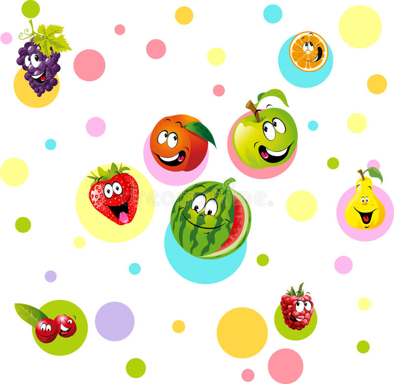 Fruta divertida con el dotteddesign colorido - vector libre illustration