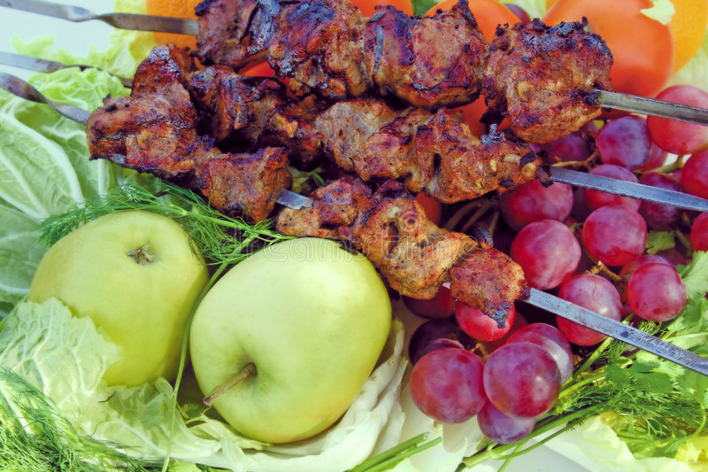 Fruta e carne foto de stock