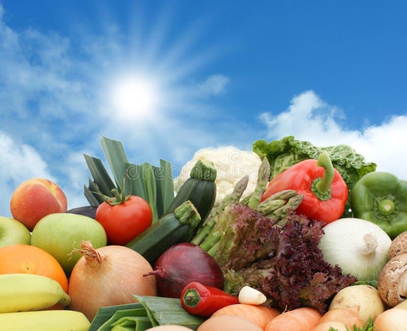 Fruta e verdura de encontro a um céu ensolarado foto de stock