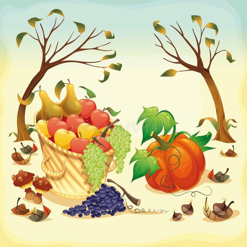 Fruta e verdura no outono. ilustração royalty free