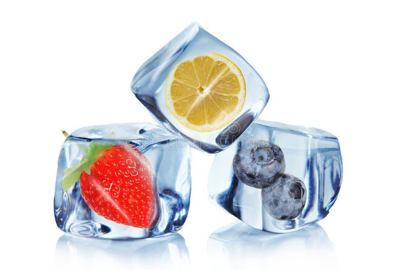 Fruta en cubos de hielo fotos de archivo libres de regalías