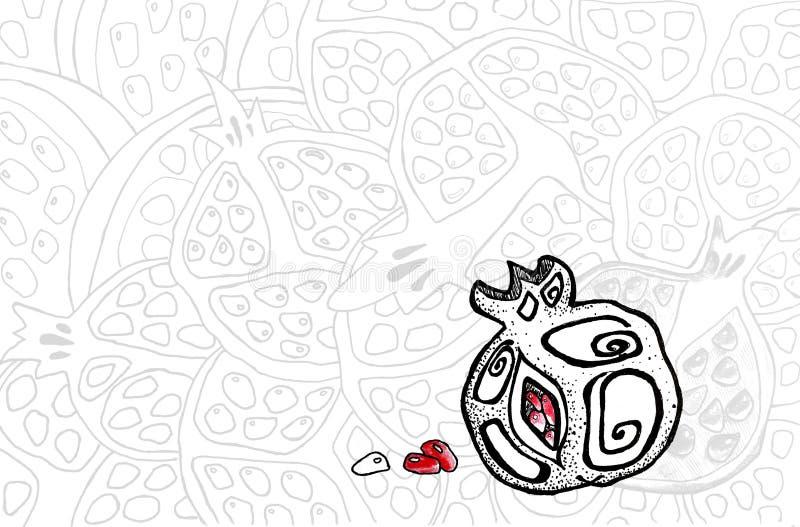 Fruta en estilo gráfico, mano-dibujo de la granada Diseño de banderas, fondos, carteles, menús, etiquetas libre illustration