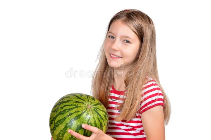 Fruta engraçada do melão da menina fotos de stock
