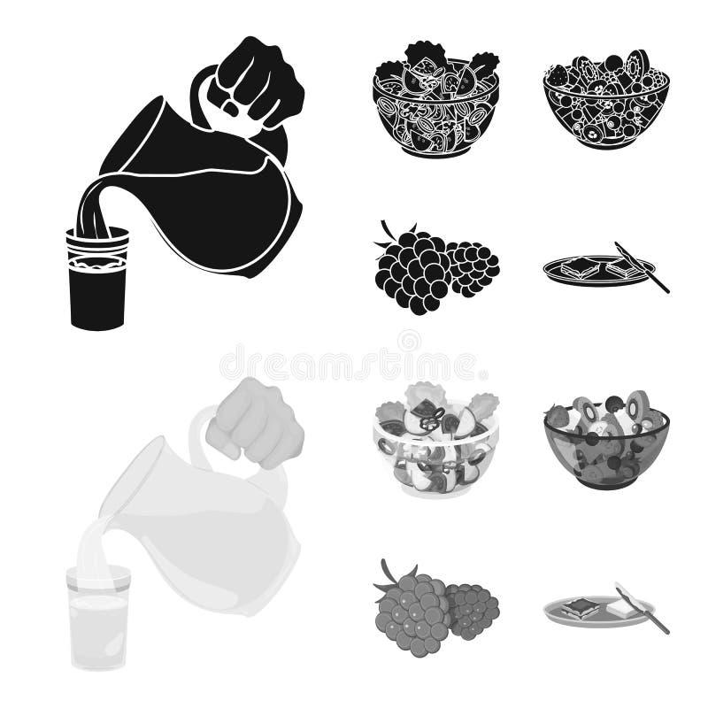 Fruta, ensalada vegetal y otros tipos de comida Iconos determinados de la colección de la comida en la acción negra, monocromátic libre illustration