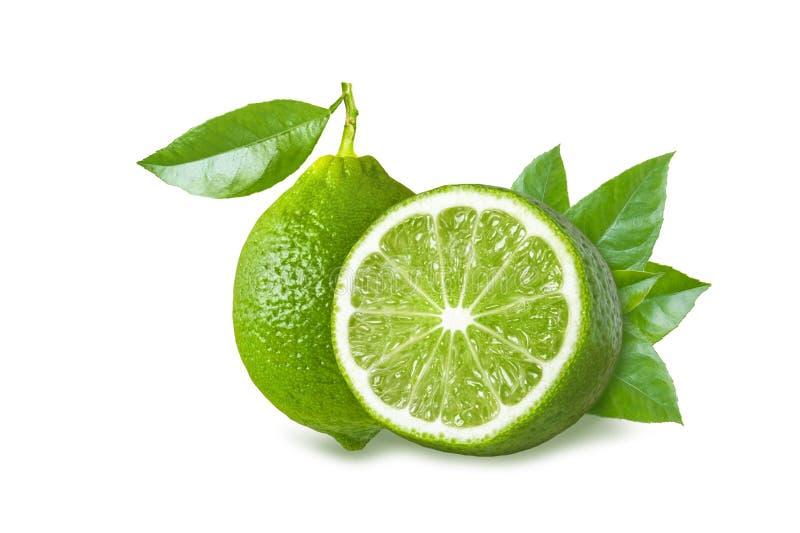 Fruta entera y mitad del verde lima con las hojas del verde en el fondo blanco imagen de archivo