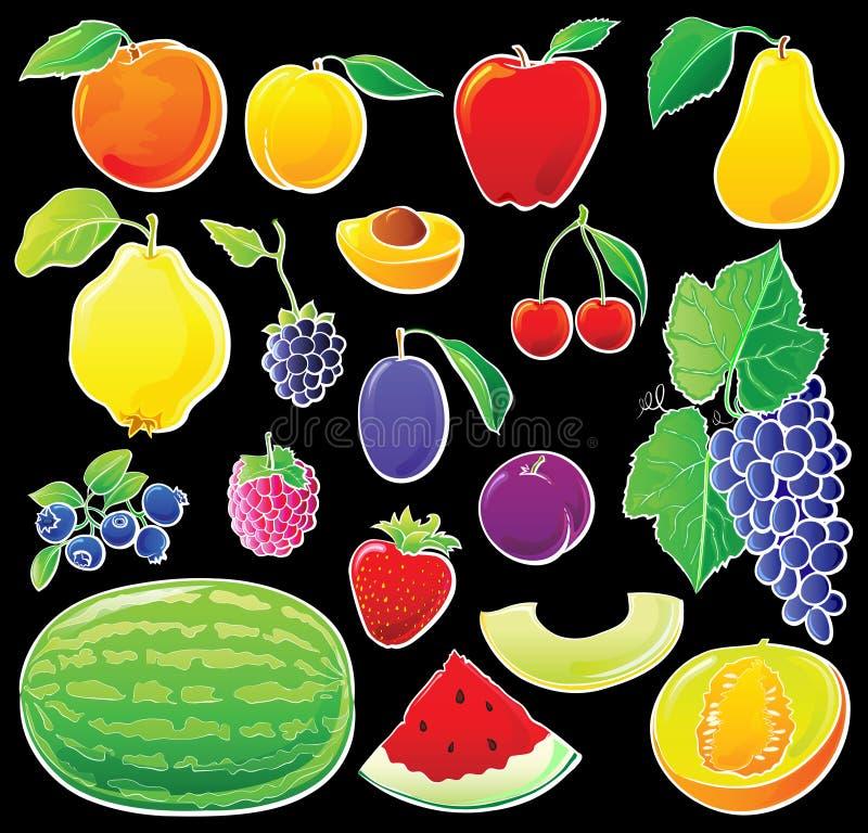 Fruta fijada en negro stock de ilustración