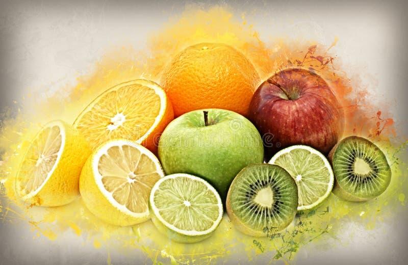 Fruta fresca con efecto del grunge stock de ilustración