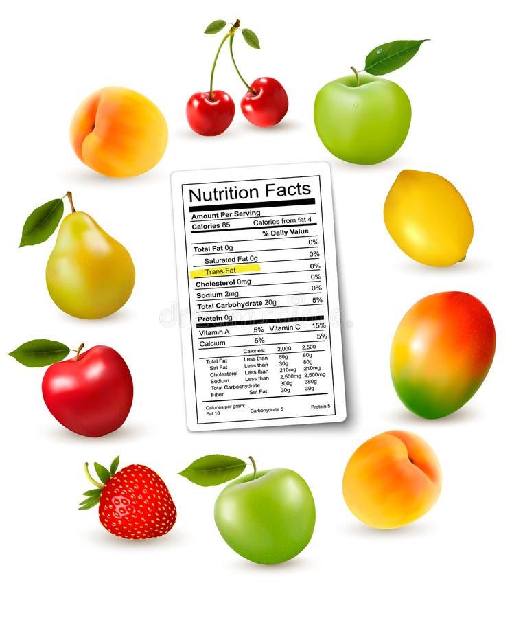 Fruta fresca con una etiqueta de los hechos de la nutrición stock de ilustración
