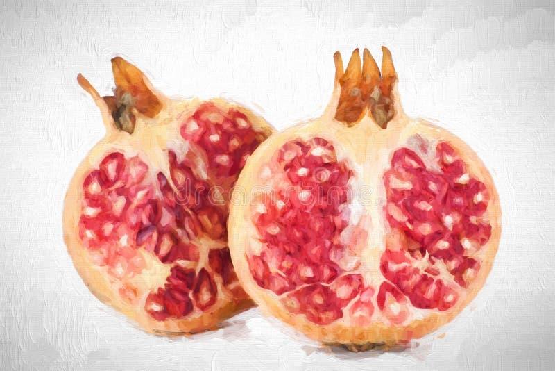 Fruta fresca de la pintura al óleo - granada imagenes de archivo