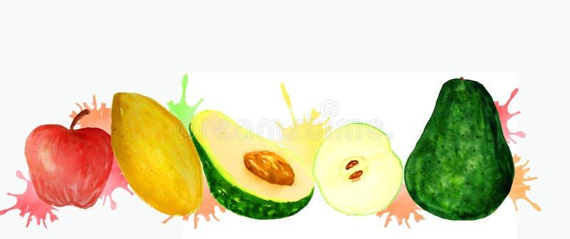 Fruta fresca em um fundo branco ilustração stock