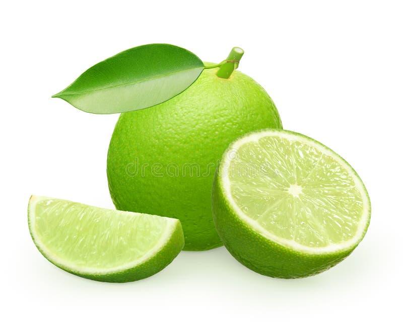 Fruta fresca entera de la cal con la hoja verde, la mitad y la rebanada imagen de archivo