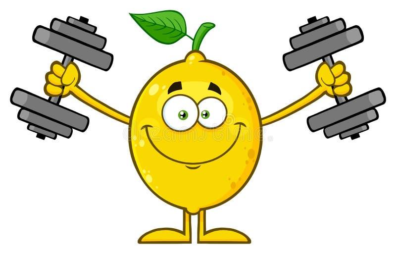 Fruta fresca sonriente del limón amarillo con el carácter verde de la mascota de la historieta de la hoja que se resuelve con pes ilustración del vector