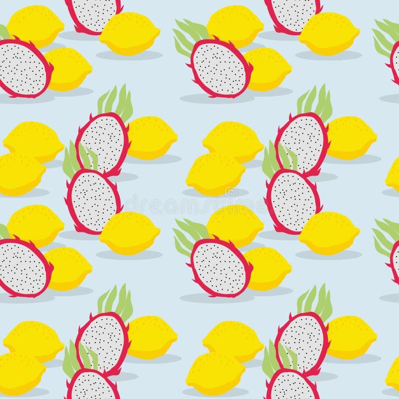 Fruta fresca, fruta y limón, modelo inconsútil del dragón ilustración del vector