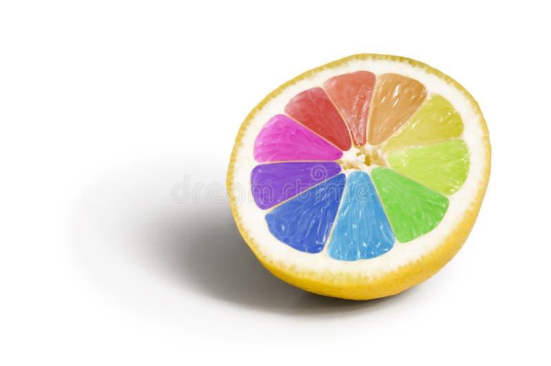 Fruta genético modificada colorida del limón imagen de archivo